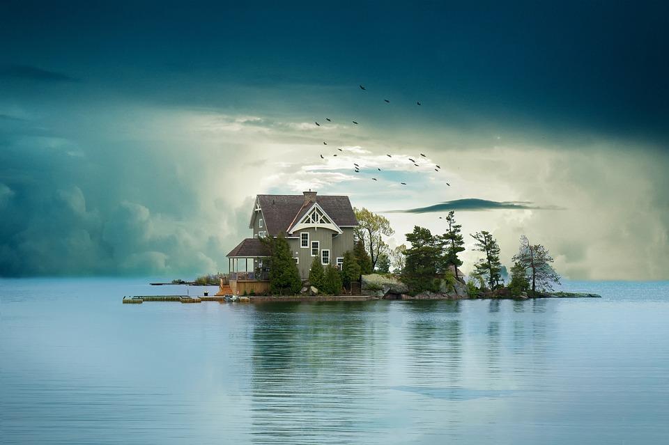 dom, jazero