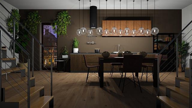 Kuchyňa zariadená drevom so chodami s kovovým záradlím.jpg